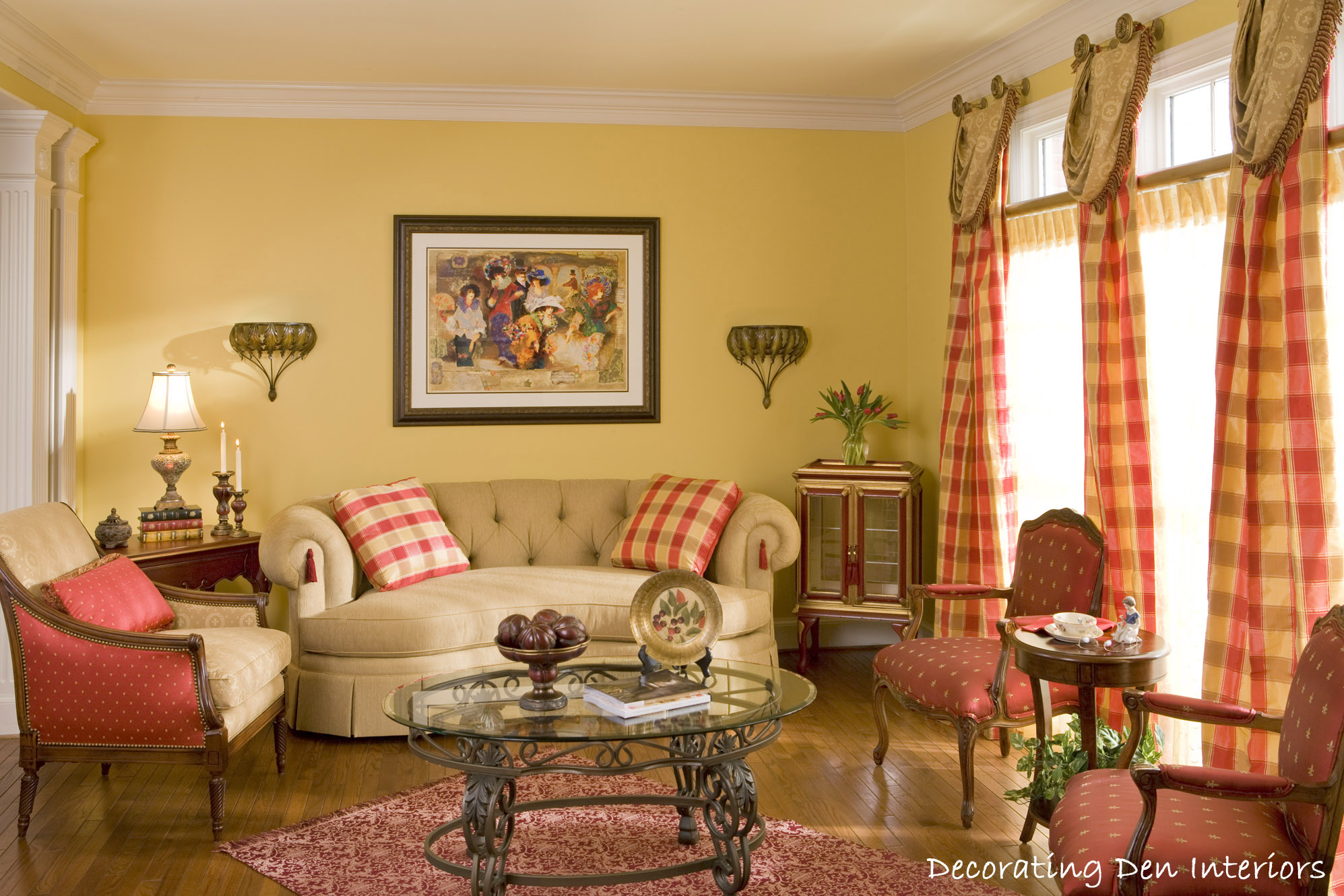 traditional living room plaid couch